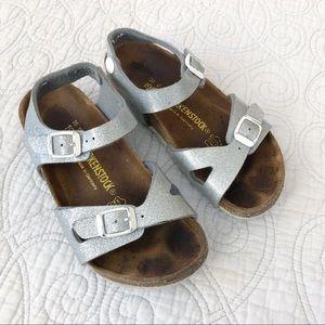Birkenstock Rio Silver Glitter Footbed Sandals 30